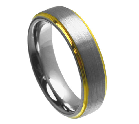 Tungsten Ring with 18K Gold Plated Edges-6mm