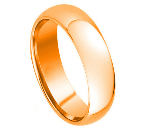 Tungsten Ring with 18K Rose Gold Domed High Polish Finish-5mm