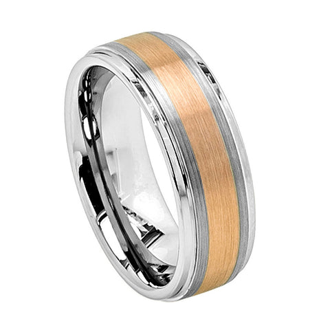 Tungsten Ring with 18K Gold Plated Stripe-8mm