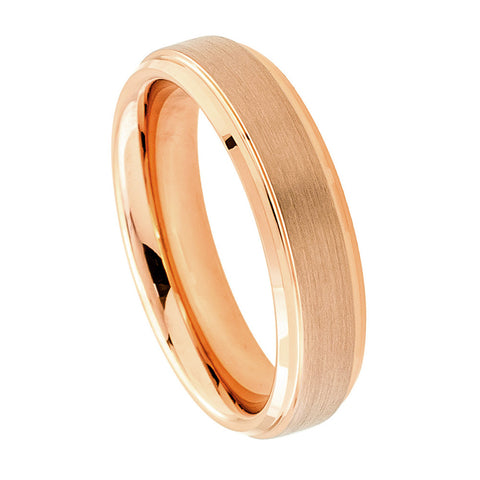 Tungsten Ring with 18K Rose Gold Raised Brushed Center-6mm