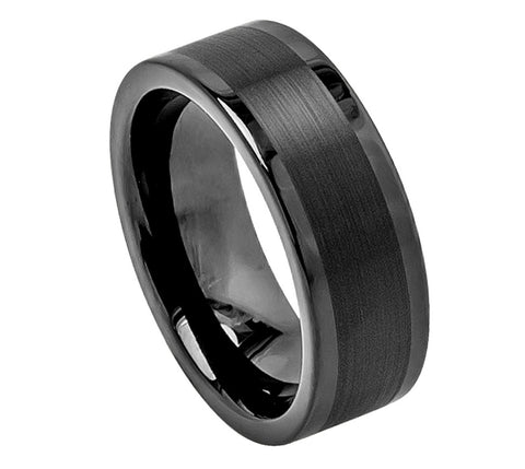 Black Tungsten Ring with Satin Finish and Polished Edges-8mm