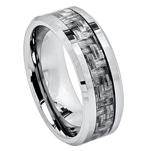 Tungsten Ring with Grey Carbon Fiber Weave Inlay-8mm