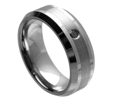 Tungsten Brushed Stripe Ring Black Diamond Center-8mm