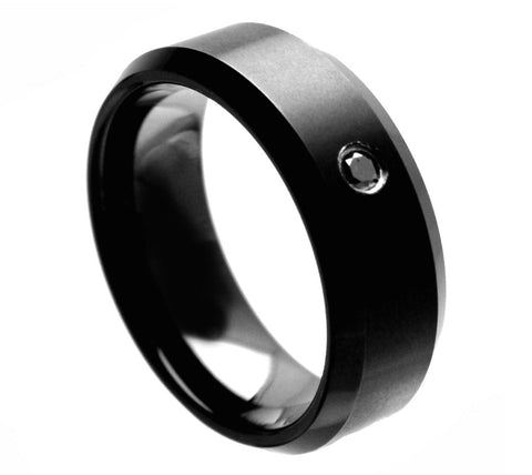 Black Tungsten Ring with Black Diamond Center-8mm