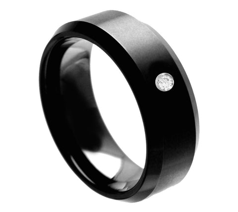 Black Tungsten Ring with White Diamond-8mm