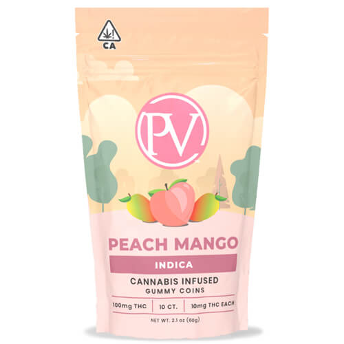 PV Peach Mango Gummy Coins 100mg