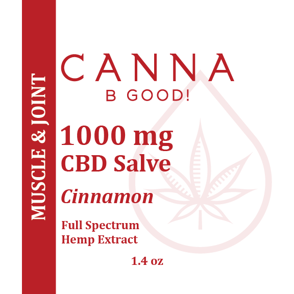Canna B Good Cinnamon Premium CBD Salve front label, 1.4 oz metal tin with red writing. Pain, muscle and joint, well being, natural, organic, non-GMO, hemp, legal, USA grown, full spectrum, 3rd party tested, cannabgood, cannabegood
