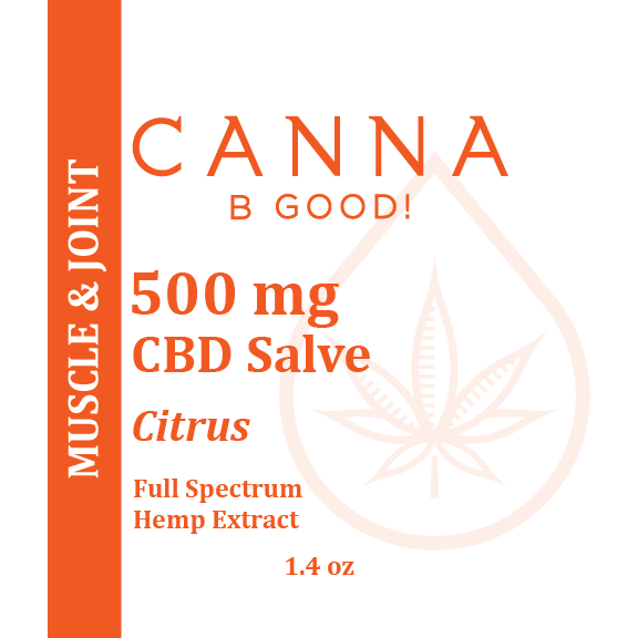 Canna B Good Citrus Premium CBD Salve front label, 1.4 oz metal tin with orange writing. Pain, muscle and joint, well being, natural, organic, non-GMO, hemp, legal, USA grown, full spectrum, 3rd party tested, cannabgood, cannabegood