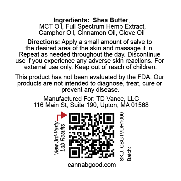 Canna B Good Cinnamon Premium CBD Salve back label, 1.4 oz metal tin with red writing. Pain, muscle and joint, well being, natural, organic, non-GMO, hemp, legal, USA grown, full spectrum, 3rd party tested, cannabgood, cannabegood