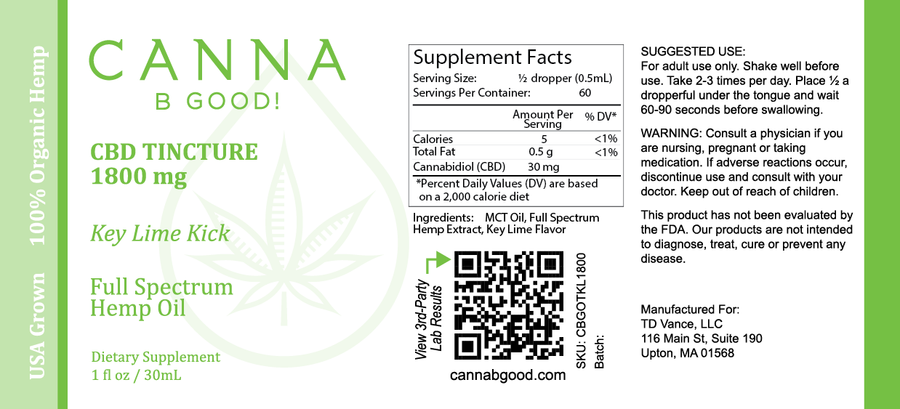Canna B Good Keylime Kick Tincture Premium CBD Oil Label with lime green writing. Pain, stress, anxiety, well being, natural, organic, non-GMO, hemp, legal, USA grown, full spectrum, 3rd party tested, cannabgood, cannabegood