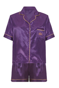 A Gift From The Gods Purple Shorts Satin PJs