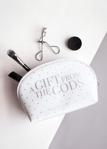 A Gift From The Gods Polka Dots White Curve Cosmetic Bag