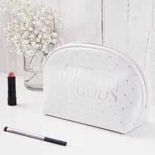 Load image into Gallery viewer, A Gift From The Gods Polka Dots White Curve Cosmetic Bag