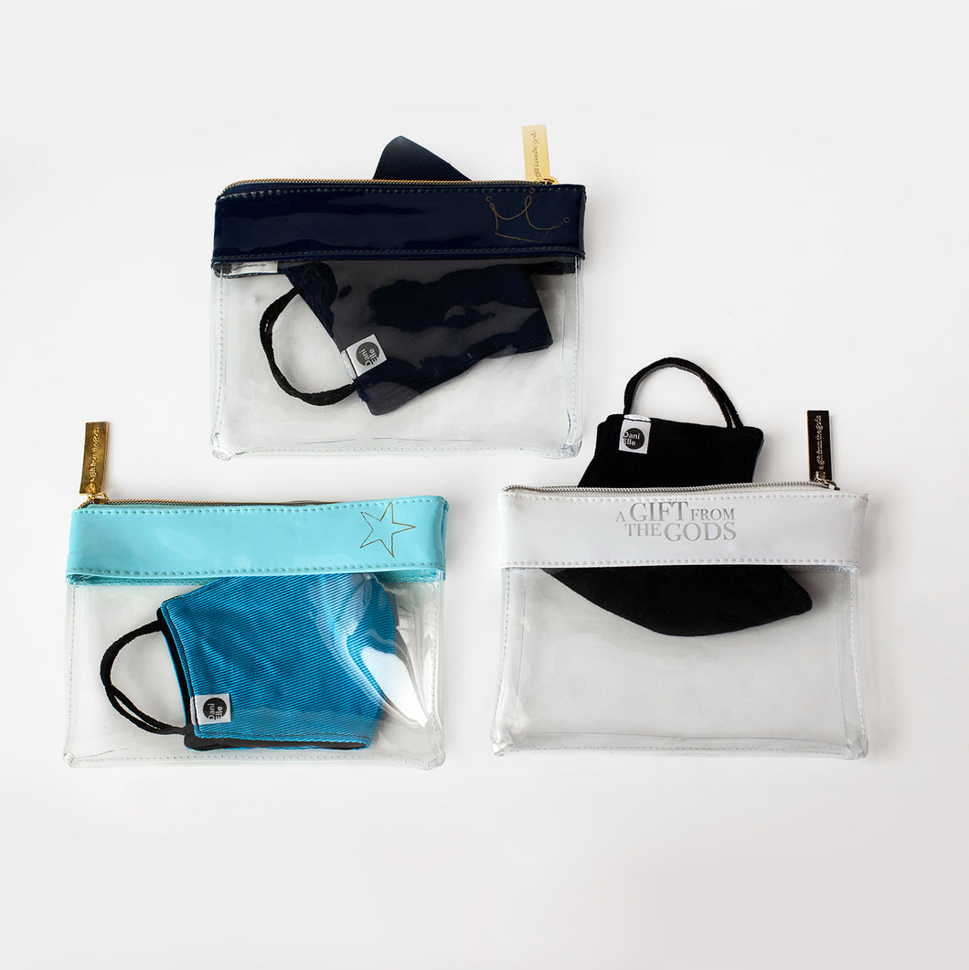 3 Clear Zip Mask Pouches - White, Aqua and Blue