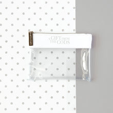 Load image into Gallery viewer, A Gift From The Gods Slogan White Clear Pouch