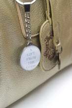 Load image into Gallery viewer, A Gift From The Gods White Slogan Round Keyring