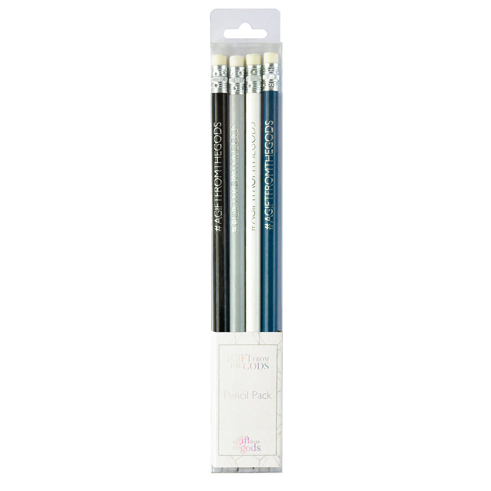 A Gift From The Gods Geo White Set of 4 Pencils