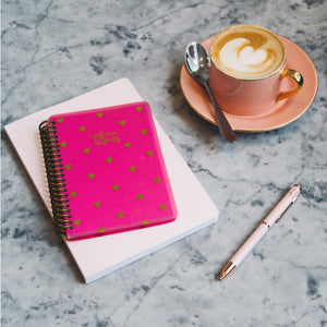 A Gift From The Gods Calligraphy Hearts Hot Pink A6 Spiral Notebook