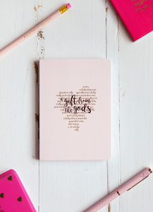 A Gift From The Gods Calligraphy Heart Pink A6 Notebook