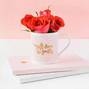 A Gift From The Gods Calligraphy Slogan Pink Mug
