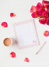 Load image into Gallery viewer, A Gift From The Gods Calligraphy Hearts Pink Weekly Planner