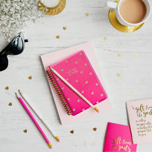 Load image into Gallery viewer, A Gift From The Gods Calligraphy Hearts Hot Pink A6 Spiral Notebook