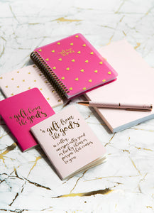 A Gift From The Gods Calligraphy Hearts Pink Set of 3 Mini Notebooks