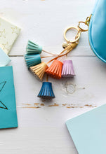 Load image into Gallery viewer, Dream Odyssey Aqua Tassels Keyring
