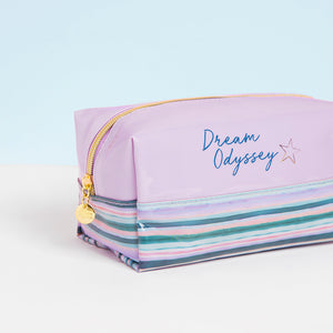 Dream Odyssey Stripe Lilac Square Cosmetic Bag