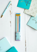 Load image into Gallery viewer, Dream Odyssey Stripe Aqua Set of 4 Pencils