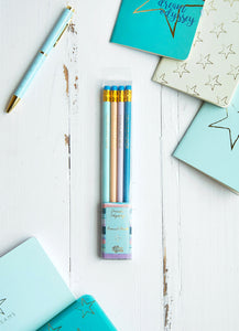 Dream Odyssey Stripe Aqua Set of 4 Pencils