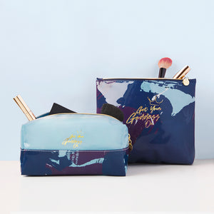 Get Your Goddess On Graffiti Blue Square Cosmetic Bag