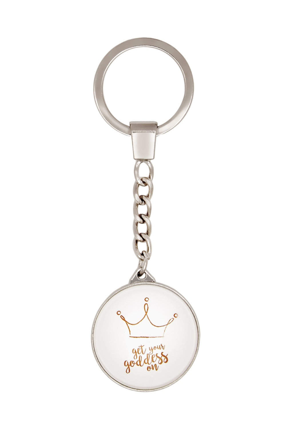 Get Your Goddess On White Round Keyring