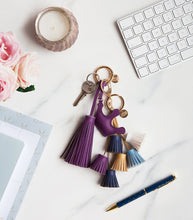 Load image into Gallery viewer, Get Your Goddess On Blue Tassels Keyring