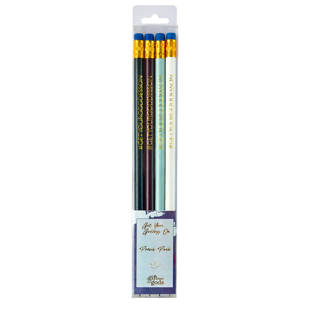 Get Your Goddess On Graffiti Blue Set of 4 Pencils