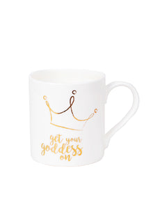 Get Your Goddess On Crown White Mug