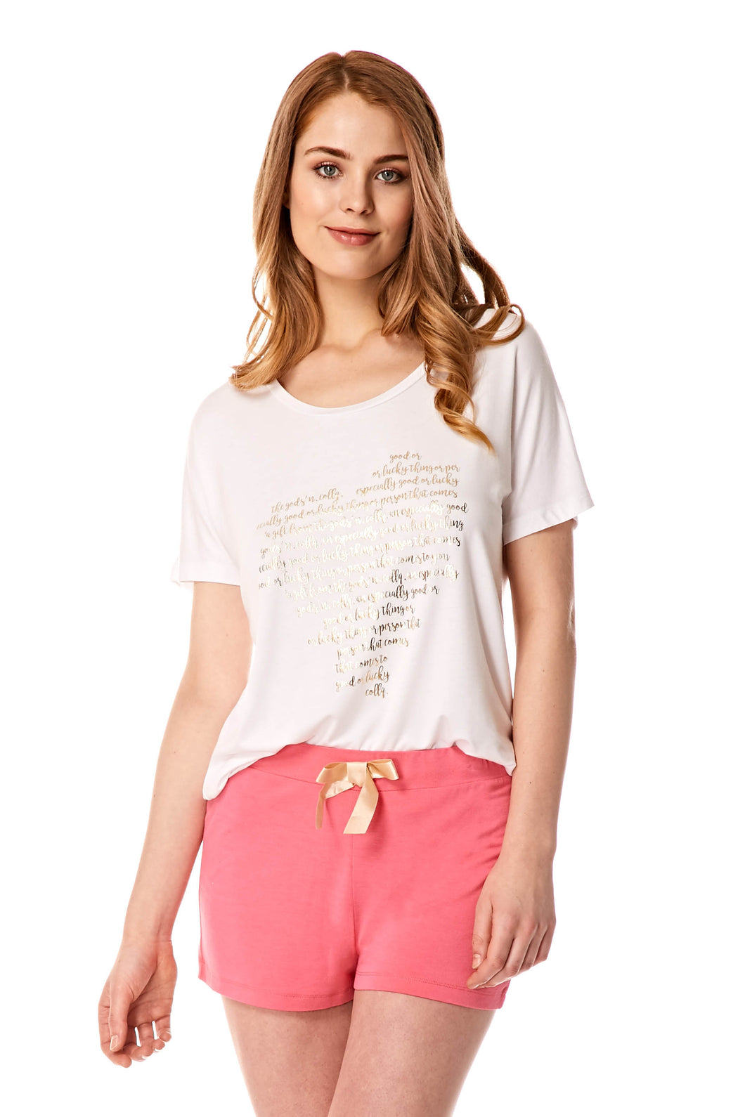 A Gift From The Gods Gold Heart Shorts Set White Pink PJs