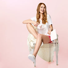 Load image into Gallery viewer, A Gift From The Gods Gold Heart Shorts Set White Pink PJs