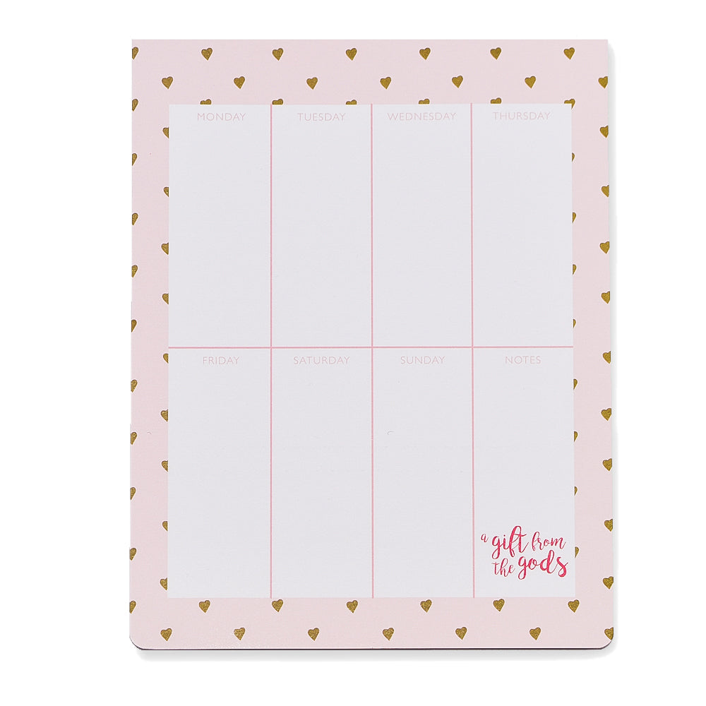 A Gift From The Gods Calligraphy Hearts Pink Weekly Planner