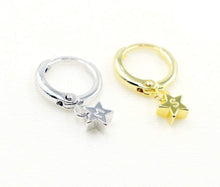 Load image into Gallery viewer, 16K Gold Plate and 16K Silver plated Star Earrings - Dainty Silver Plated Hand stamped