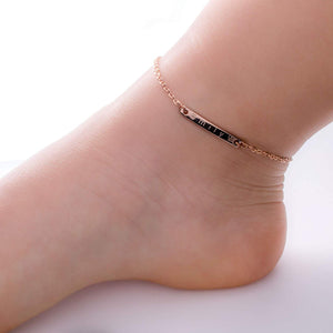 Baby and Kid Anklet Personalize Dainty Name Bar Anklet 16k Gold Silver Rose Gold Plated(New Born to Children)