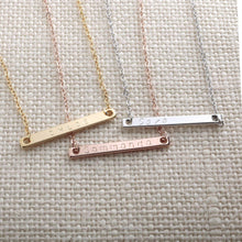 Load image into Gallery viewer, Custom Name Bar Necklace 16K Gold Rose Gold Silver -Plated Dainty Handstamped Personalized Delicate Hand Stamp Necklace Bridesmaid Wedding Gift Best Graduation Day gift