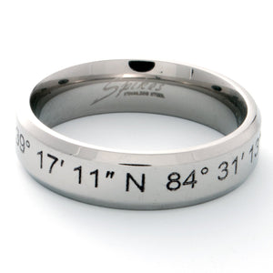 A Coordinate Personalized Ring Stainless Steel Beveled Edge Flat Band Ring Silver