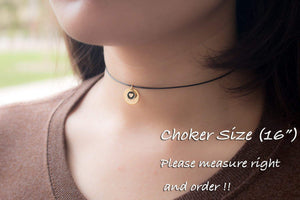 Choker Super cute Disc Initial with Heart Coin Necklace - Dainty Personalized Gold Silver Rose Gold -Plated