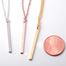 Load image into Gallery viewer, Necklaces Delicate Vertical Bar Necklace - Dainty Handstamped Roman Numeral Personalized Delicate Plate Initial Charms Necklace Best Graduation Day gift