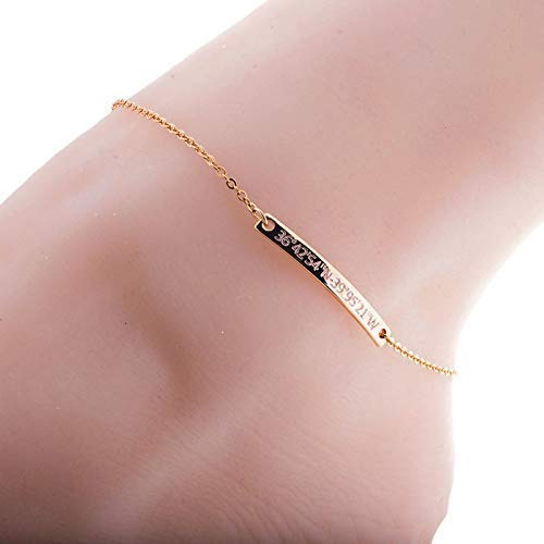Personalized Anklet 16K Gold Silver Rose Gold plated base Dainty Coordinate anklet - Dainty Personalized Bar Plate Silver Bar anklet Delicate Initial Best Graduation Day gift