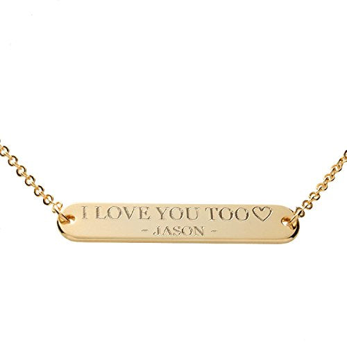 Custom Message Bar Necklace - Plated Round Edge Your name  / Gold, Silver, Rose Gold Plated