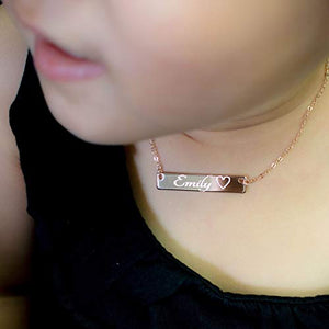 A Personalized Baby-Children-Teen name bar Necklace / Gold, Silver, Rose Gold