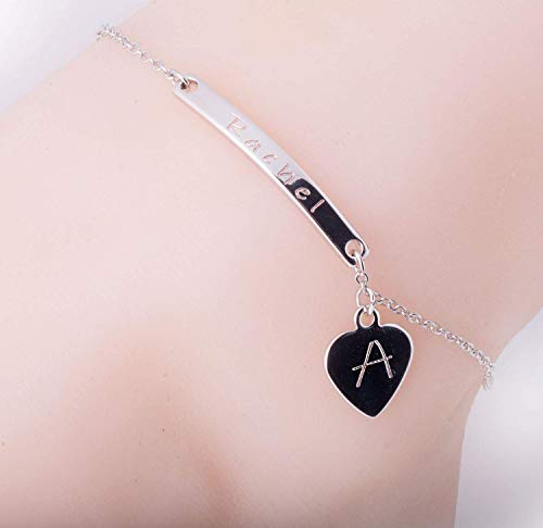 Personalized 16K Gold Silver Rose Gold Heart anklet-plated Anklet Dainty Name Bar Plate Initial Charms Anklet Machine Engraving Best Graduation Day gift