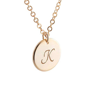 Personalize Initial Coin Necklace - Dainty Personalized Delicate Initial Charms Gold Silver Rose gold Plated Disk Necklace Machine Engraving Wedding Best Graduation Day gift